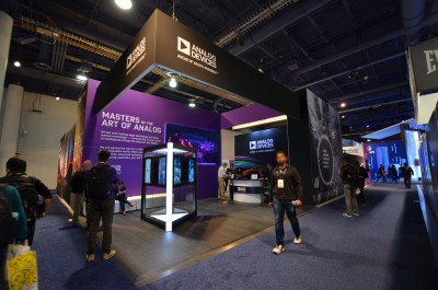 Company stand Analog Devices, Inc. on trade show INTERNATIONAL CES 2018