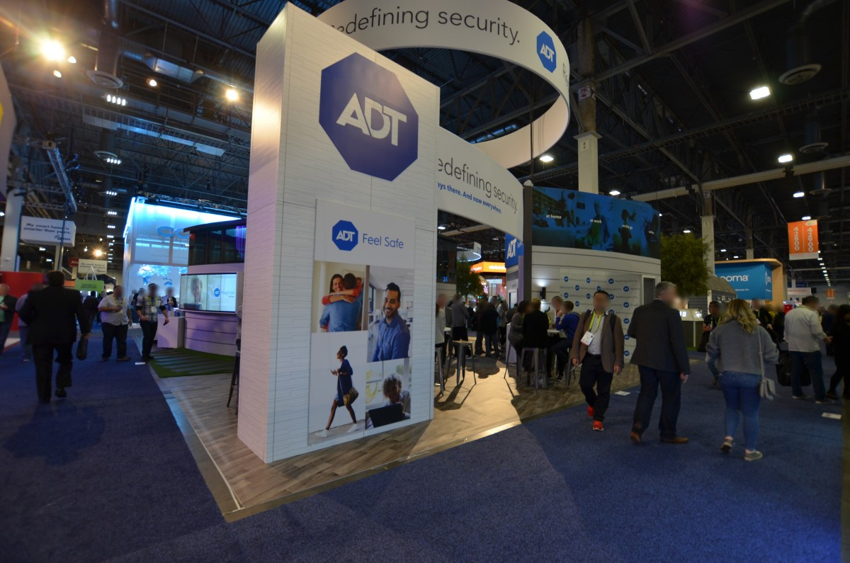 Company stand ADT Security Services on trade show INTERNATIONAL CES 2018