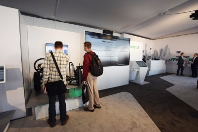 Company stand Schaeffler Technologies AG & Co. KG on trade show INTERNATIONAL CES 2019