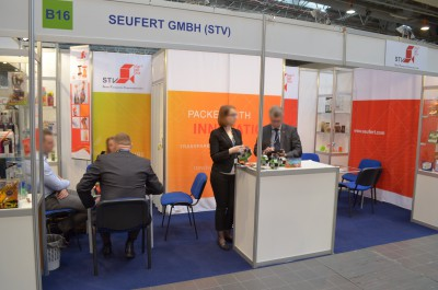 Company stand Seufert Transparente Verpackungen GmbH on trade show PACKAGING INNOVATIONS WARSZAWA 2014