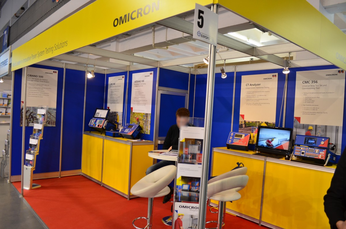 Company stand OMICRON electronics GmbH on trade show EXPOPOWER 2014