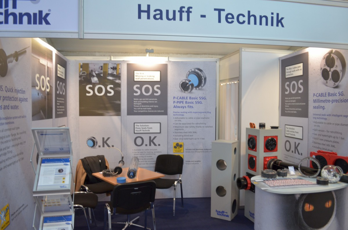 Company stand Hauff-Technik GmbH & Co. KG on trade show WOD-KAN 2014