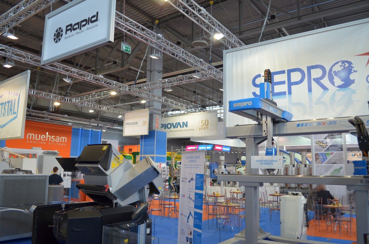 Company stand RAPID Granulator AG on trade show PLASTPOL 2014