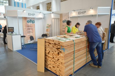 Company stand EHP European - Hardwood Production GmbH on trade show FURNICA 2014