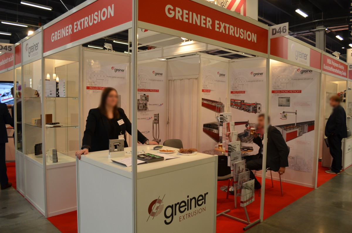Company stand GREINER EXTRUSION GmbH on trade show PLASTPOL 2015