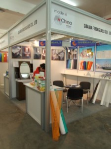 Company stand GRAND FIBERGLASS Co., Ltd. on trade show BUDMA 2012