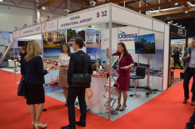Company stand Odessa Airport on trade show Routes Europe 2016