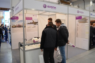 Company stand Evonik Industries AG on trade show KOMPOZYT-EXPO 2016